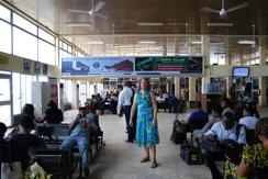 Dr Susanna J Dodgson, publisher of MJoTA sites, in the airport in Enogu, Nigeria, which was part of Biafra, on the day that the President of Biafra was buried in Mar 2012. Biafra pages click on picture