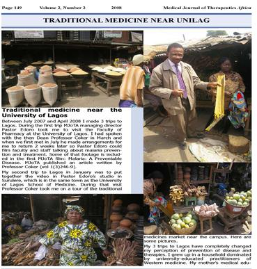 Traditional medicine near UniLag. Susanna J Dodgson BSc(Hons), PhD. Medical Journal of Therapeutics Africa 2008,2(2):149-50